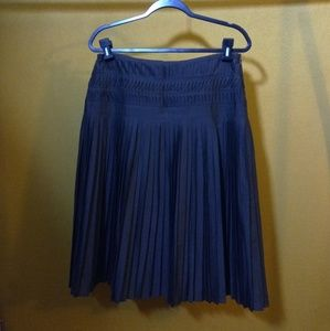 Club Monaco dark brown micro pleated midi skirt